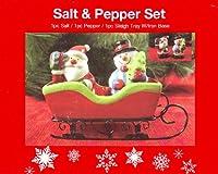 セラミックサンタと雪だるまSalt & Pepper Shaker inソリトレイW / Ironベース