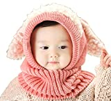 【Ludus Felix】選べるカラー 5色 ウサギちゃん 子羊 ニット帽 ニット帽子 ベビー キッズ 赤ちゃん 子供 用 ケープ 一体型 マフラー ネックウォーマー フード  【ボア部分がふわふわで気持ちいい!】【頭&首まであたたか】 (ピンク)
