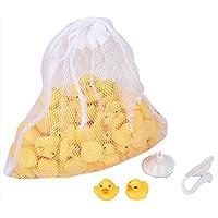 玩具の神様® かわいい ピヨピヨ アヒルちゃん 100個 セット お風呂でプカプカ (100匹セット&お片付けネット+吸盤2個セット)