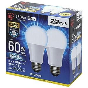アイリスオーヤマ LED電球 口金直径26mm 60W形相当 昼白色 広配光タイプ 2個セット 密閉器具対応 LDA7N-G-6T42P