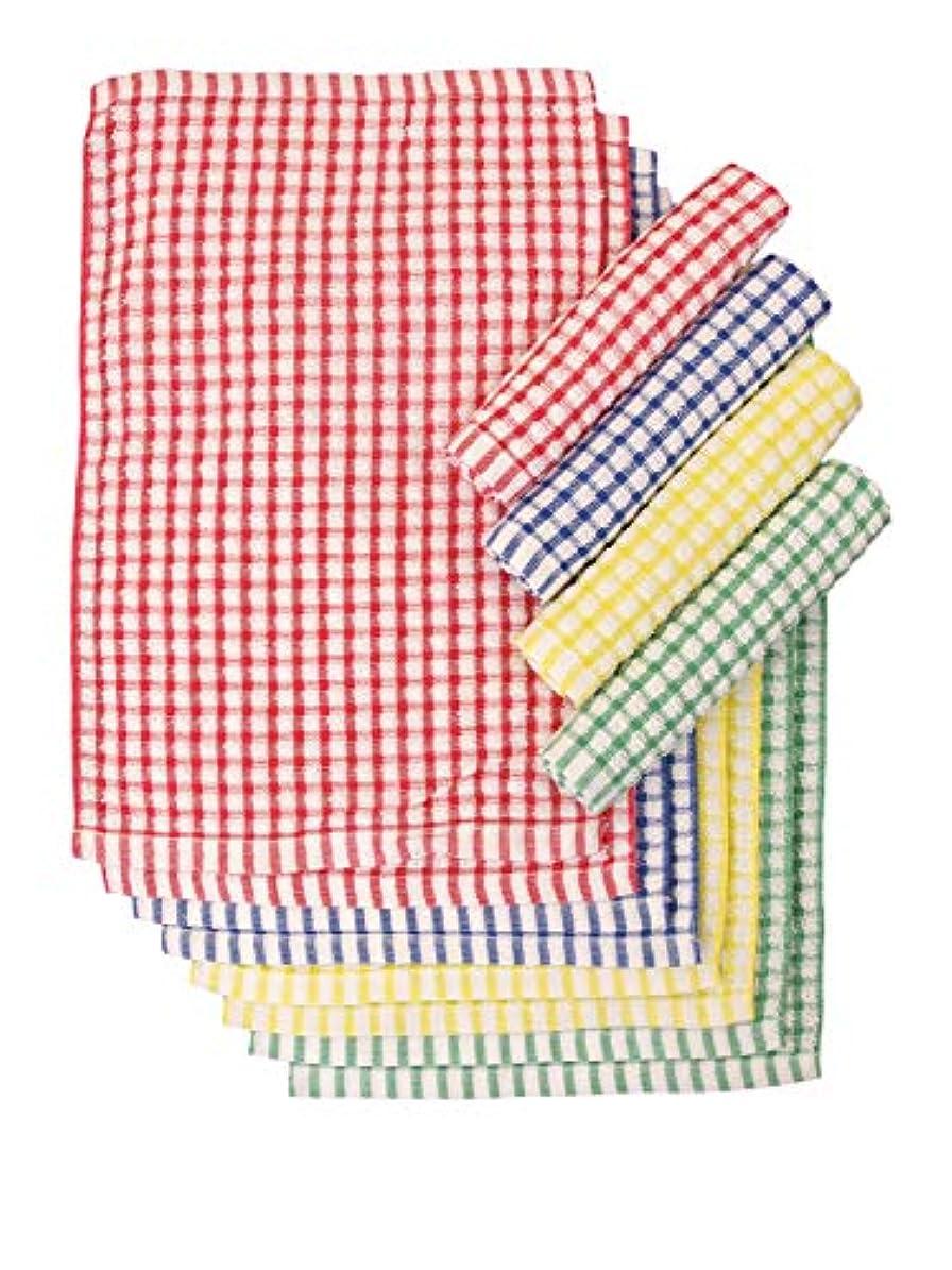 試験無条件脚本家おしぼり用タオル 12枚組 カラー格子 kitchen12 12枚組