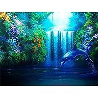 フルスクエア/ラウンドドリル5d diyダイヤモンド絵画イルカ動物3d刺繍クロスステッチ5d家の装飾ギフト,70x90cm