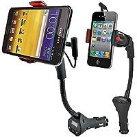 ohmygo 3- in - 1360°回転グースネック車マウントホルダーwith Built in USB充電ドックとFM送信機for iPhone 654Samsung Galaxyなど。3.5–5.3インチスマートフォン