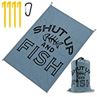 魚を黙らせる レジャー旅行シートピクニックマット防水145×200センチ折りたたみキャンプマット毛布オーニングテントライトと収納が簡単ポータブル巾着
