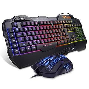 HAVIT ゲーミングキーボード LED バックライト有線 キーボード ゲームキーボードとマウスセット 日本語配列 HV-KB558CM(黒い)