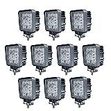 ベストアンサー 【 挟角 】 27w 9連 LED作業灯 LEDワークライト 12v 24v 1年保証 角型 10個セット