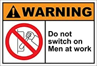 Hypothesis 20×30cm 看板 メタルサイン Do Not Switch On Men At Work Warning ウォールアート バー カフェ 壁の装飾 ヴィンテージ風 メタルプレート ブリキ