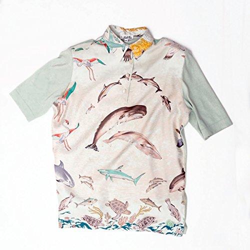 (エルメス)HERMES シャツ半袖 鯨 シルク100%/コットン グリーン M 中古