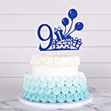 9th Birthday Cake Topper,Happy Birthday Decoration with Blue Bollons For 9th Birthday Party/Birthday Gift