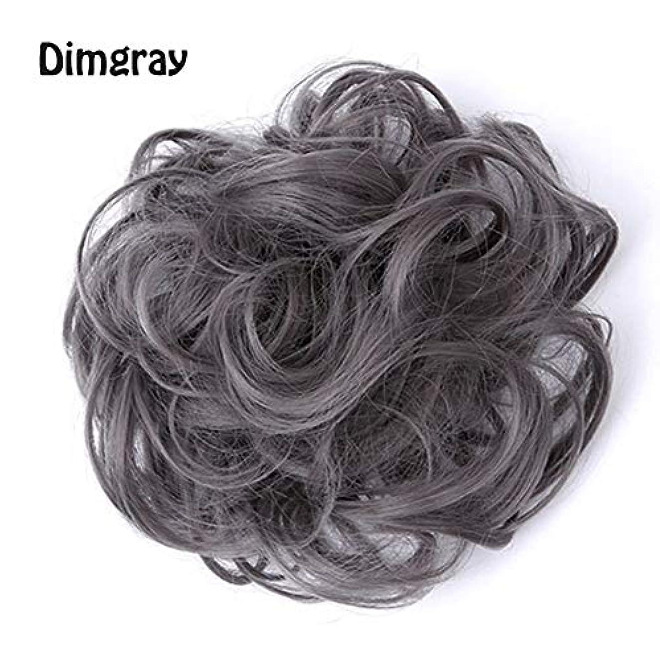 有効化するだろうハイランド乱雑な髪のお団子シュシュの拡張機能、ポニーテールシニョンドーナツアップ、女性用カーリー波状リボンアクセサリー