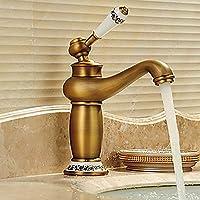 セラミックバルブ蛇口ヴィンテージゴールド浴室のシンクの蛇口 - 回転アンティーク真鍮ワンハンドルワン蛇口 イカンあなたが持っているに値する