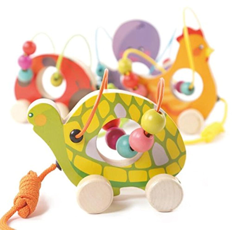 幼児期のゲーム おもちゃの木製のプーさんのおもちゃのおもちゃの周りの幼児漫画の亀