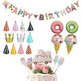 アイスクリーム 誕生日 飾り付け 可愛い 女の子 ピンク happy birthday バナー ガーランド 三角帽子 バースデークラウン バルーン 風船 ドーナツ ケーキトッパー 17枚セット