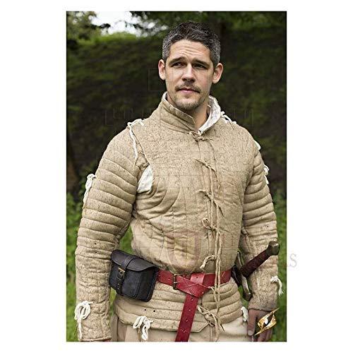 中世ギャンベソン 厚手パッド入りコート アケトンジャケットアーマー キャメルコットンファブリックドレス SCA