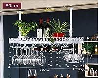 古典的なワイングラスのホールダーの天井、金属製のボトルラッククリスタルデコレーション調節可能な高さの壁掛け-80 * 25 * 32 cm(L * W * H)