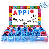 Magnetic Alphabet Letters and Numbers - 238 PCS Refrigerator ABC Magnets for Educating Kids with Magnetic Board - Toddlers Preschool Learning Toys (Colorful Magnetic Letters and Numbers)