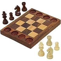 初心者のセット18 – ハンドメイド木製チェスセット – クロス間チェスとTic Tac Toe – 教えている基本的なチェス移動