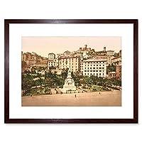 Photo Piazza Acquaverde Green Water Plaza Genoa Italy Framed Wall Art Print 写真緑水イタリア壁