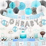 ベビーシャワーパーティー飾り 飾りつけ 風船 男の子 100日 半歳 一歳 ブルー ホワイト グレー  紙提灯 ペーパーファン かわいいブルーの象 ケーキブルー挿入カード ハニカムボール