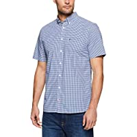 TOMMY HILFIGER Men's Custom Fit Gingham Short Sleeve Shirt, Blue Depths/Bright White, XL