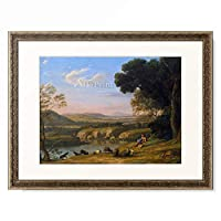 クロード・ロラン Claude Lorrain 「River landscape with goatherd. 1640s」 額装アート作品