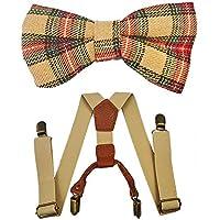 Kids Suspenders And Bow Tie Set Adjustable Suspender Bowtie Necktie Sets Boys And Girls (Khaki + Plaid Bowtie)