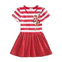 (ニート) NEAT 子供ドレス ガールズ 可愛い 半袖 カジュアル ドレス ワンピース 3-8歳 SH5908レッド 5T