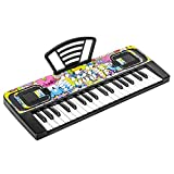 SANMERSEN 電子キーボード 6曲デモ内蔵 8種類音色 8つリズム 4つ内蔵打楽器 鍵盤 ピアノ多機能 高音質 軽量 楽器キーボード CPC認証 CE認証済 譜面立て付き 日本語取扱説明書付き(ブラック) (49鍵 20x 8x2in)