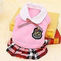 HVTKLN 新しいキャンパスペット イングランド犬服テディ外国貿易ペットスクールユニフォームスピード HVTKLN (Color : Pink skirt, Size : M)