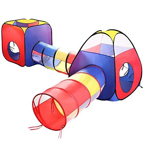 (イークスン) EocuSun 子供用テント セット 折り畳み式 トンネル バスケットネット 収納バッグ付き 改良版 秘密基地 お誕生日 出産祝いのプレゼント (紺色)