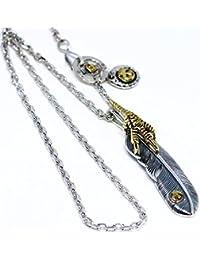 「silver KYASYA」シルバー925素材 特大金爪 フェザーネックレス 925 イーグル メタル 羽根 特大フェザー 1枚 シルバー太角チェーン使用!