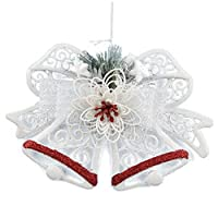 Kicode Christmas Tree Flower Double Bell Shape Home Door Window Ornaments Decoration Xmas Hanging Glitter Drop Colorful Plastic