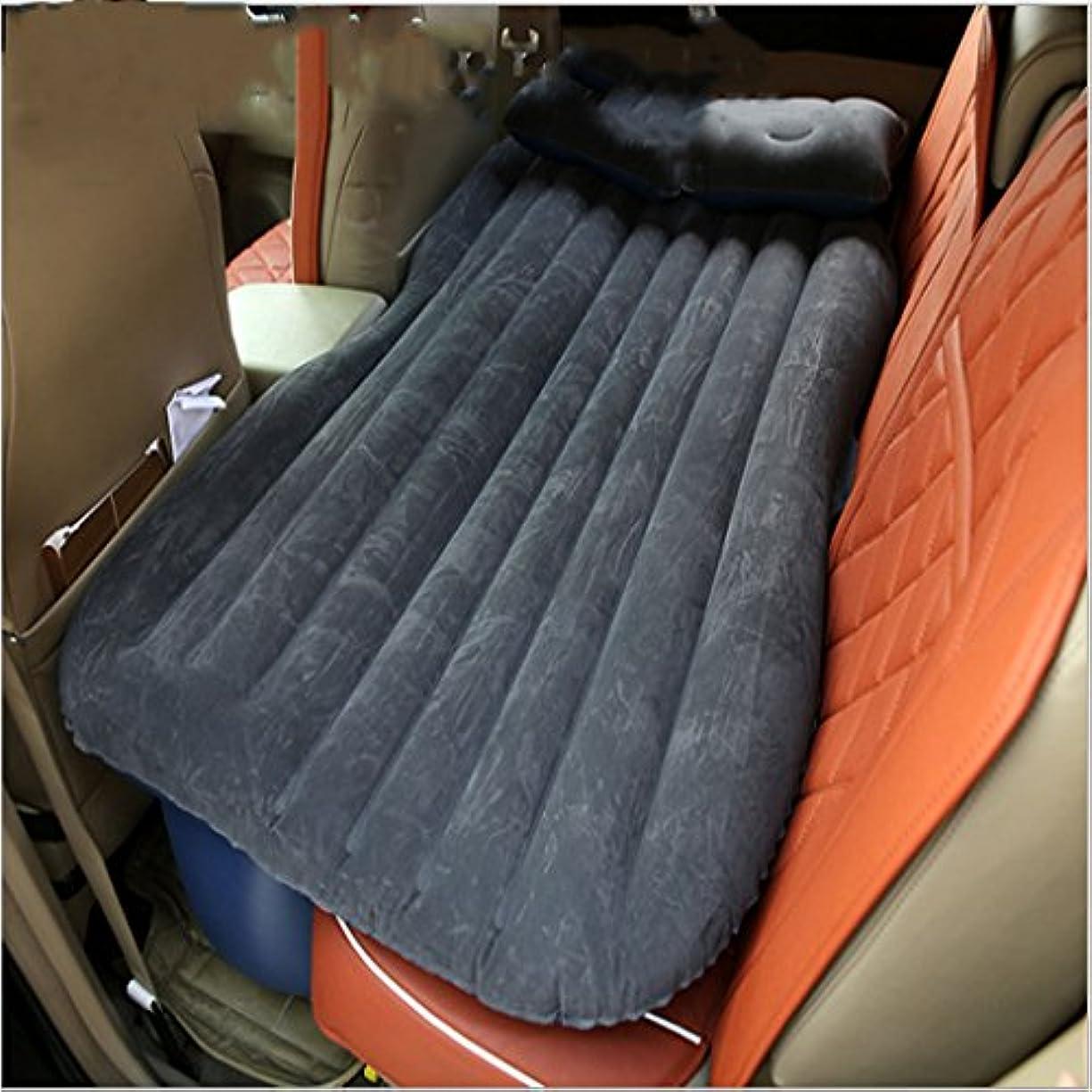 ジャンプホスト相互エアベッド - 車のエアベッドヘッドプロテクター多機能インフレータブルマットレス屋外キャンプフィッシングインフレータブルクッション車のベッド長距離旅行シートクッション // (色 : 黒)