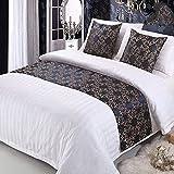 ファッションホーム-ヨーロッパ アンティーク ベッドランナー ベッドスロー 落ち着いたカラー ゴールド花柄 ダブルサイズ 50cmx210cm