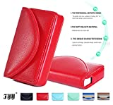 名刺ケース,Fyy 高級PUレザー カード収納ポケット 大容量 スリムビジネスカードケース/名刺ホルダー (30枚収納) 持ち便利 マグネット開閉式 ボックスタイプ レッド
