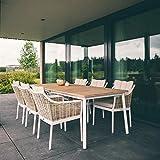 OSMEN Outdoor Furniture - Milou Dining 7PC Kit Set - Aluminum Frame Dinning Table Garden Patio Chair