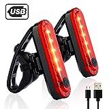 自転車 テールライト 2個セット USB充電LEDライト 防水点滅サイクルライト 4点灯モード セーフティーライト 夜間走行の視認性をアピール 簡単装着