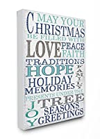 The Stupell Home Decor Collection Christmas with Love and Peace Typography Stretched Canvas Wall Art [並行輸入品]