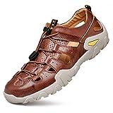 [DUKLUCAK] サンダル メンズ スポーツサンダル アウトドア ムレ防止 本革クロッグ 吸汗防臭 グリップ 防滑 厚底 水陸両用 ビーチサンダル ファッションサンダル 大きいサイズ 夏靴 RED-BROWN 25.5cm EU41