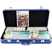 [Mstechcorp]Mstechcorp American Mahjong Mah jong 166 Tiles Set w/ Racks Brief Case 4 Color Pushers/Racks Western Mahjongg Blue [並行輸入品]