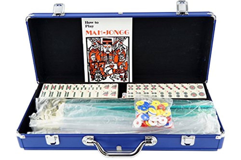 [Mstechcorp]Mstechcorp American Mahjong Mah jong 166 Tiles Set w/ Racks Brief Case 4 Color Pushers/Racks Western Mahjongg Blue [並行輸入品]