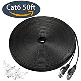 15M Cat 6 Ethernet Cable, Flat Wire LAN Rj45 High Speed Internet Network Cable Slim with Clips, Faster than Cat5e/Cat5 with Snagless Connectors for PS4, Xbox one, Switch Boxes, Modem, Router-Black