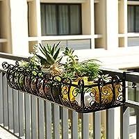 フラワースタンド- 花の形の花のホルダー-手すりディスプレイラックのスペースを節約する家の装飾棚に掛けることができる耐久性のある長方形の植物スタンド