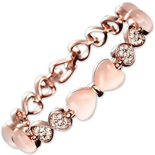 [해외]MAX World 팔찌 여성 핑크 골드 18k 팔찌 하트/MAX World Bracelet Women`s Pink Gold 18k Bangle Heart