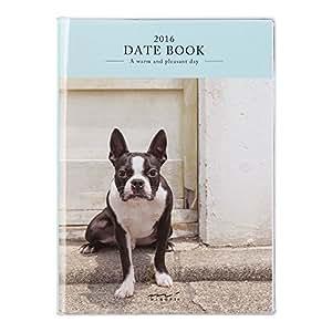ミドリ ポケットダイアリー 手帳 2016 10月始まり ウィークリー A6 イヌ柄 27422006