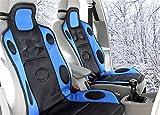 (ファーストクラス)FirstClass シートヒーター カー用品 繊維 車載 ウォーマー 12V 3段階温度コントローラー ホットクッション ブラック&ブルー1PC