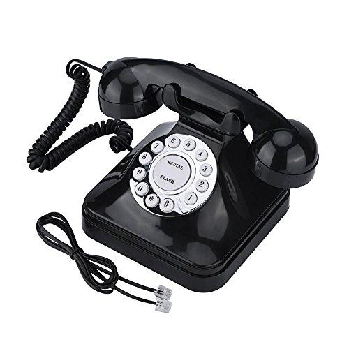 電話機 - Delaman 固定電話、ホーム、オフィス、ブラック、ビンテージ、WX-3011
