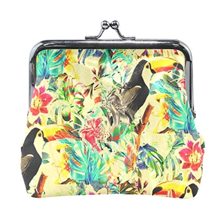 がま口 小銭入れ 財布 オオハシと花柄 コインケース レザー製 丸形 軽量 人気 おしゃれ プレゼント ギフト 雑貨