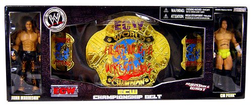 WWE Wrestling Exclusive ECW Championship Belt with John Morrison and CM Punk Figure
