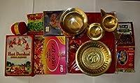 Artcollectibles India Set Of Hindu Puja Pooja Havan Samagri Brass Religious Plate Bowl Diya Roli Moli by Artcollectibles India [並行輸入品]